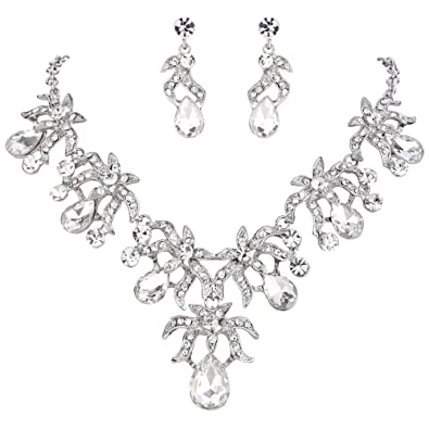TENYE Austrian Crystal Wedding Flower Leaf Vine Necklace Earrings Set 0jefDCU