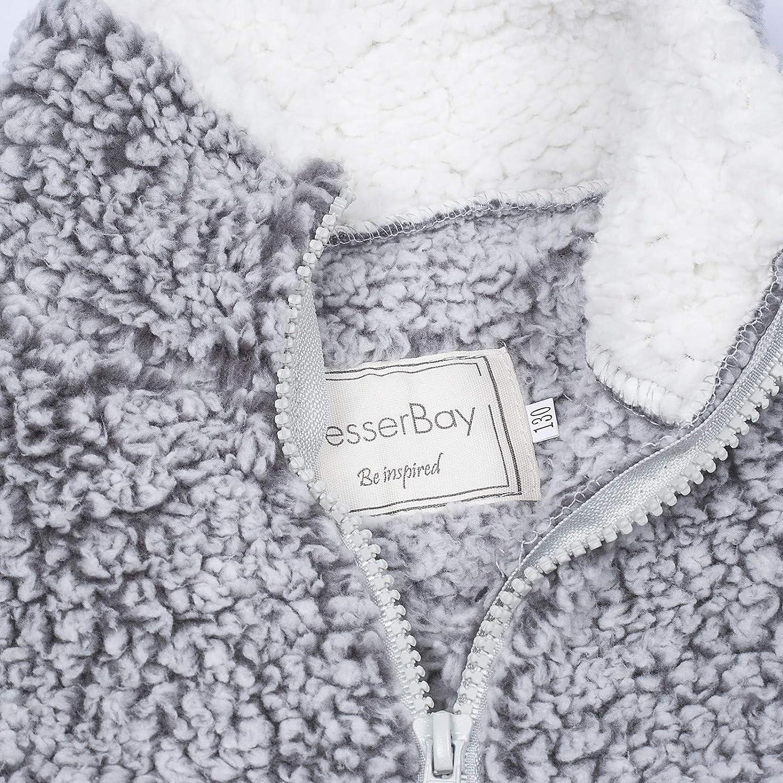 BesserBay Unisex Kids Sherpa Fleece 1//4 Zip Jacket CozyJoy