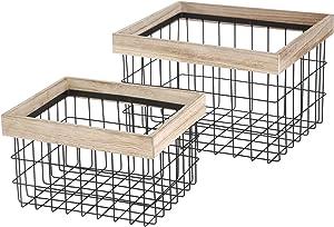 Home Zone Bookcase Storage Basket | 2-Pack, Iron, Rectangular, 2 Piece