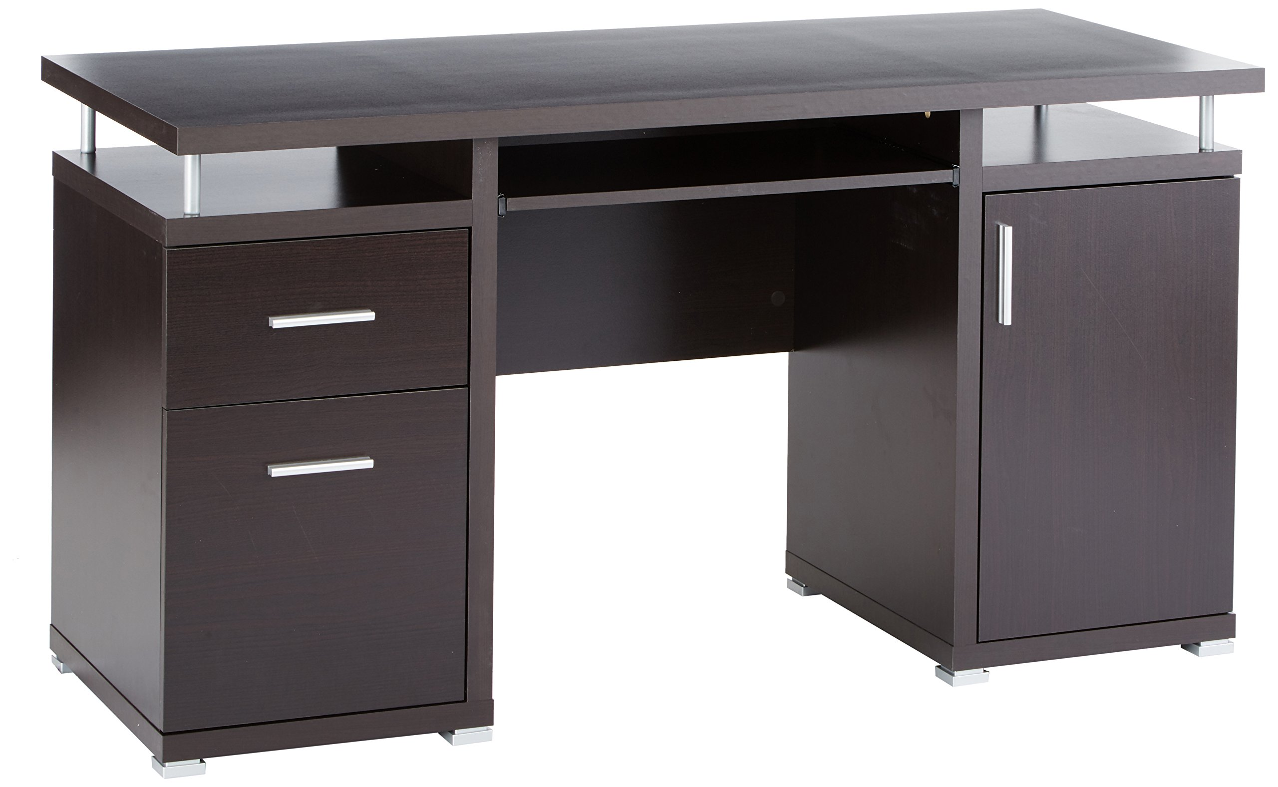 Computer Desk with 2 Drawers and Cabinet Cappuccino by Coaster Home Furnishings
