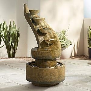 Cascading Modern Zen Outdoor Floor Water Fountain with Light LED 39 1/2