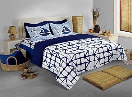 Bianca Cotton Bedsheet with 2 Pillow Covers - King Size, Blue