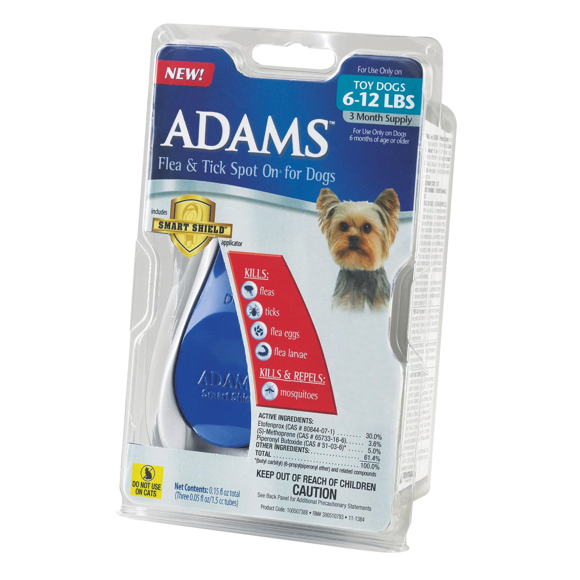 Adams Flea and Tick Spot On for Dogs, Toy Dogs 6-12 Pounds, 3 Month Supply, With Applicator