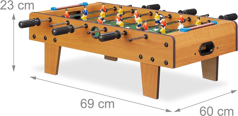 Relaxdays Futbolín de Mesa Portátil, color marrón, 23 x 69 x 37 cm (10022517): Amazon.es: Juguetes y juegos