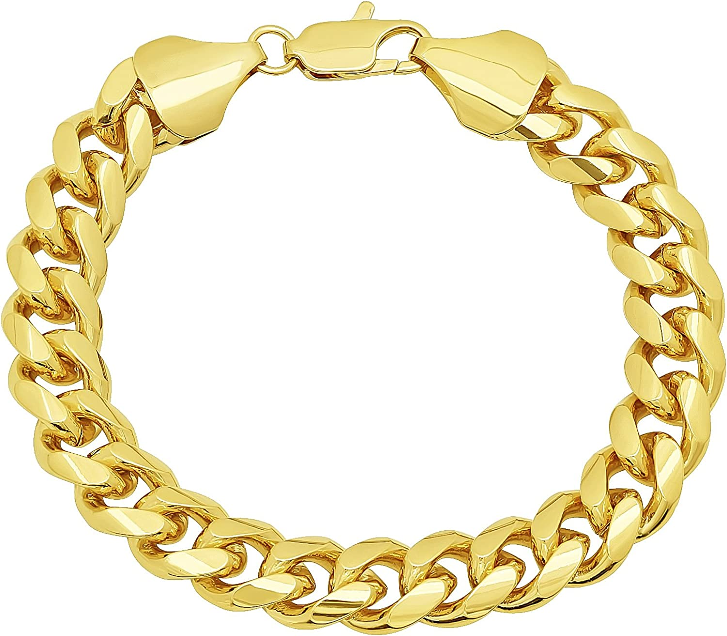 The Bling Factory 11mm 0.25 mils (6 microns) 14k Yellow Gold Plated Miami Cuban Link Chain Necklace, 7'-36 + Jewelry Cloth & Pouch