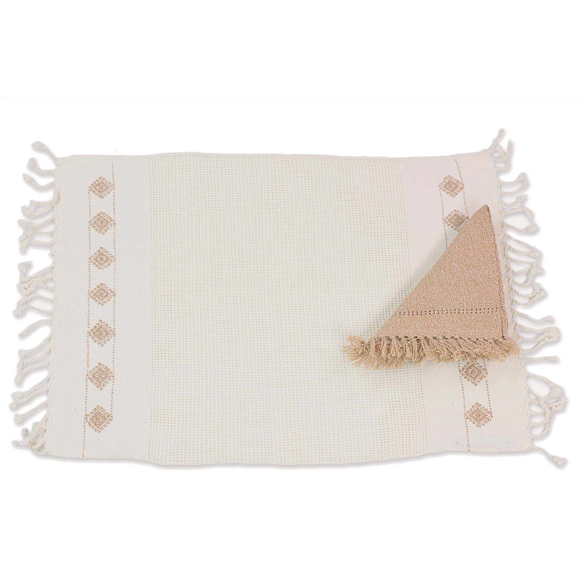 NOVICA Cotton placemats and napkins, Set For 4, Ivory Mesh