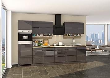 Held Möbel 624.1.6207 Neapel Küche, Holzwerkstoff, hochglanz grau ...