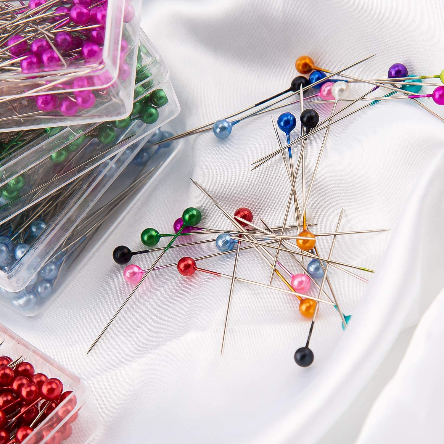 AIEX 1200 Pieces Sewing Pins Multicolor Head Pins Straight for Dressmaker Jewelry Decoration Sewing Projects 1.57inch