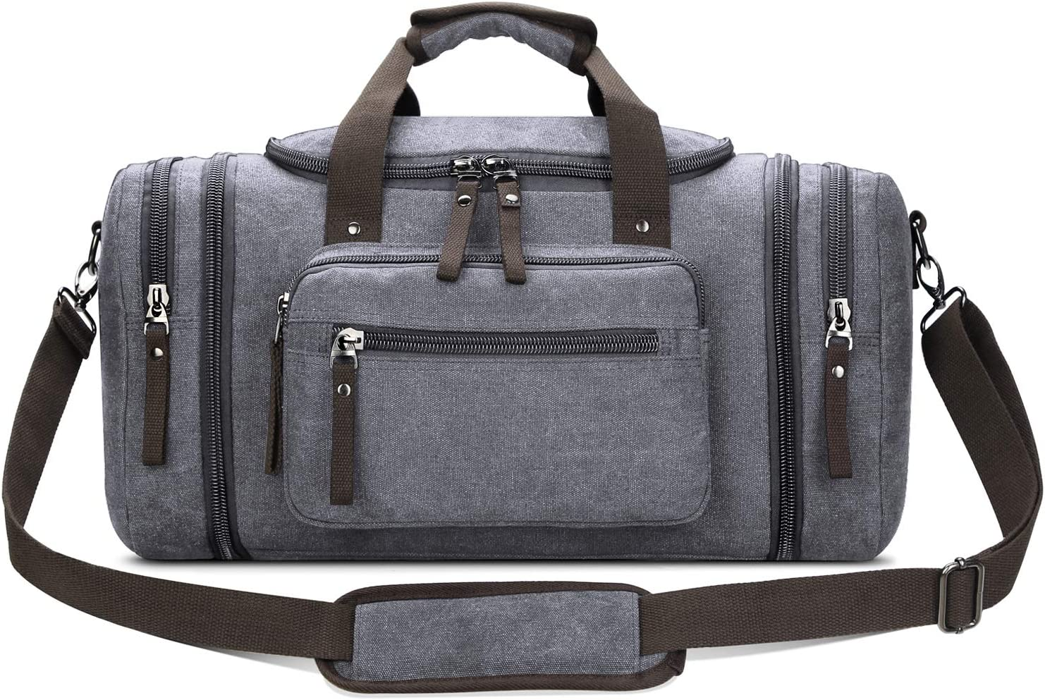 Toupons Canvas Duffel Bag Small Carry-on Bag Overnight Bag Weekender Bag for Men (Grey)