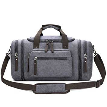 715b93df5842 Amazon.com | Toupons Canvas Duffel Bag Small Carry-on Bag Overnight Bag  Weekender Bag for Men (Grey) | Gym Totes