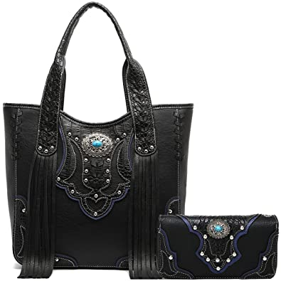 Amazon.com  Western Style Cowgirl Fringe Concealed Purse Conchos Totes  Country Women Handbag Shoulder Bags Wallet Set (1 Black Set)  Shoes 81b5336bb204e