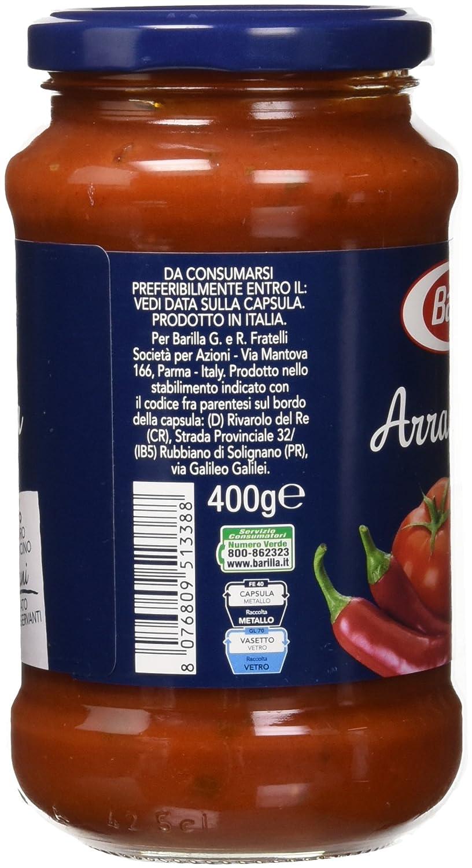 Barilla Arrabbiata - Salsa de Tomate con guindilla, 6 x 400 g: Amazon.es: Alimentación y bebidas