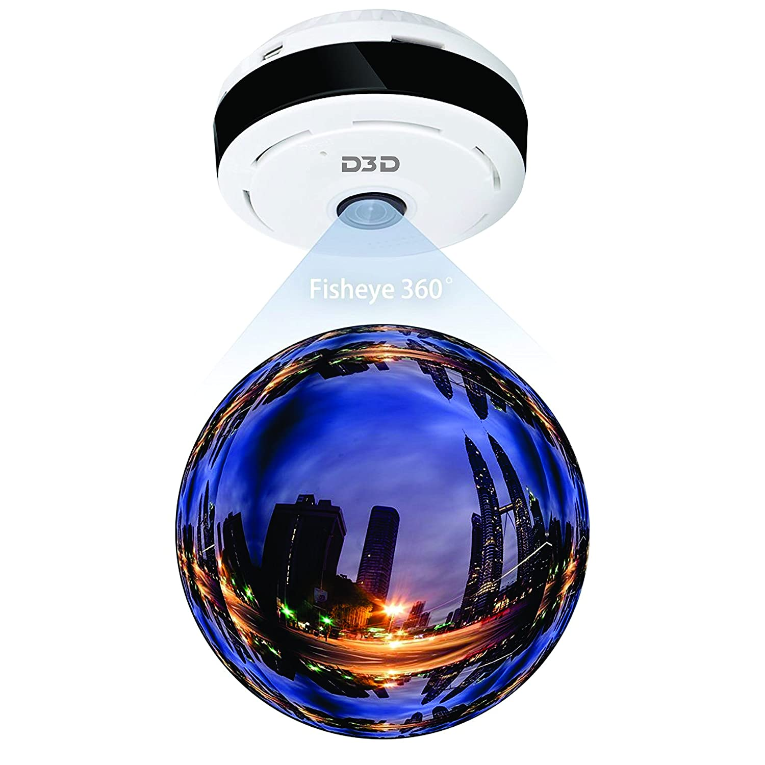 D3D D1005W HD (1280x960P) WiFi Home Security Spy Camera 360° Panoramic  (White)