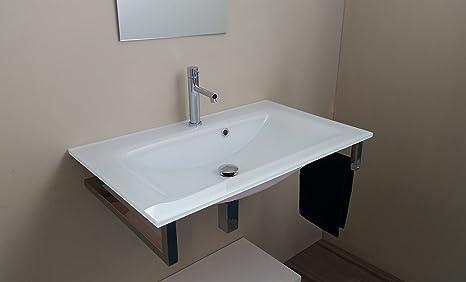 Mueble de baño cristal lavabo 80 cm con Soporte de acero ...