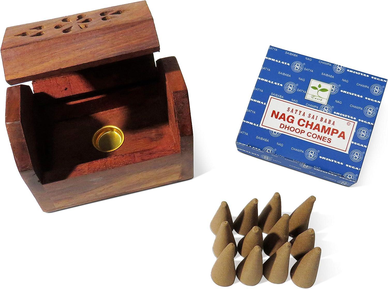Caja de incienso de madera con forma de cono de pureza con 12 ...