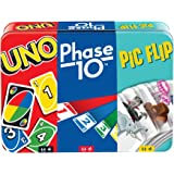 UNO, Phase 10 and Pic Flip Bundle Tin, 3 Mattel Card Games for Players 7 Year Olds & Up, Decorative Storage Tin, Gift for Kid