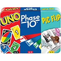UNO, Phase 10 and Pic Flip Bundle Tin, 3 Mattel Card Games for Players 7 Year Olds & Up, Decorative Storage Tin, Gift…