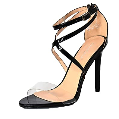 da5fadbcecf81b Womens Occasion Sandals Clear Strappy Shoes Celeb Style Open Toe High Heels  Size UK 3