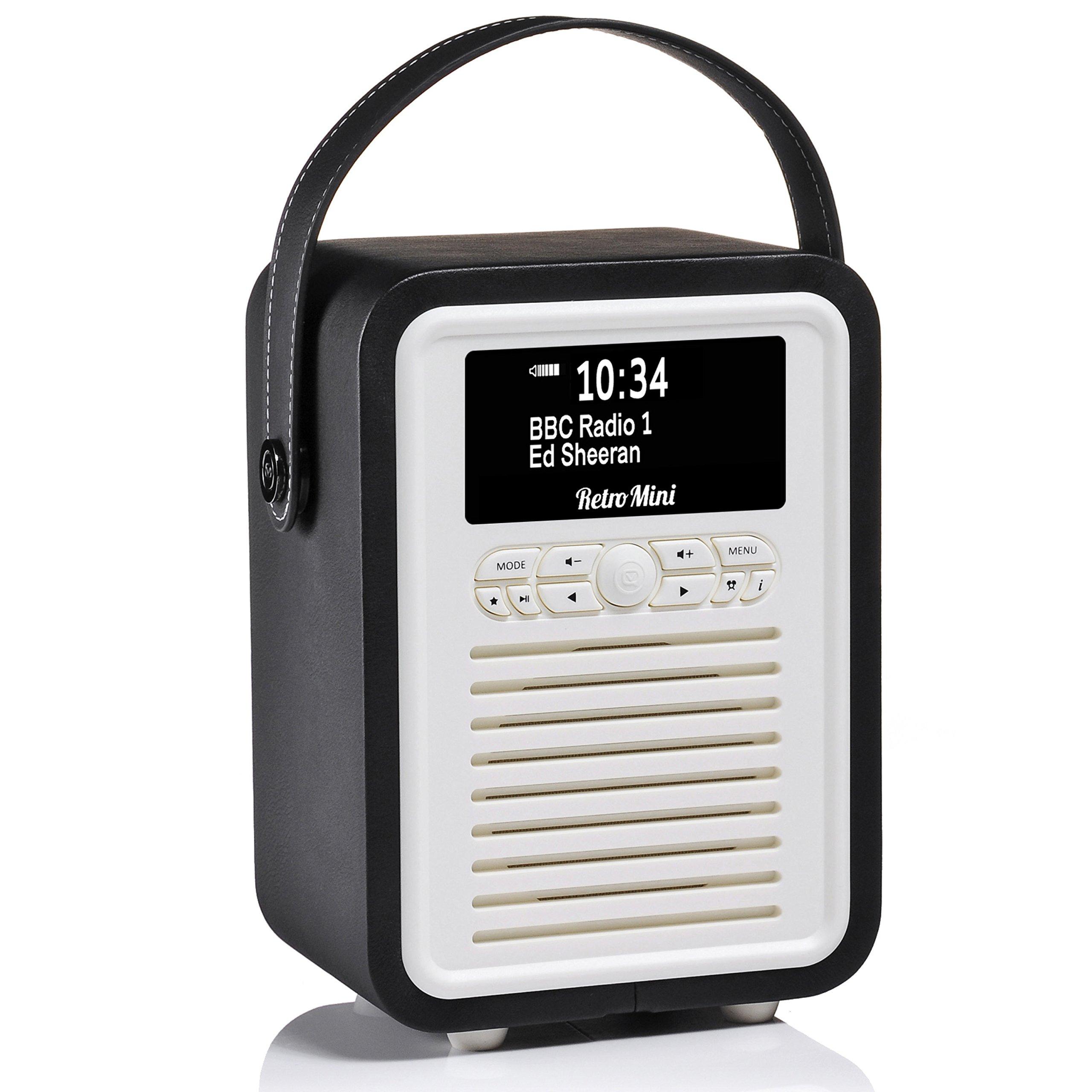 Retro Mini by VQ | Radio & Bluetooth Speaker with AM/FM & HD Radio, Dual Alarm Clock Mains or Battery – Premium PU Leather Case Black
