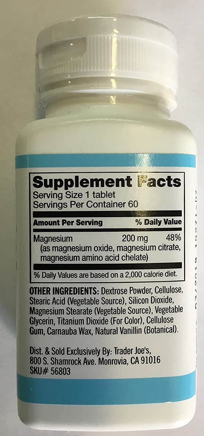 Amazon.com: Trader Joes Magnesium 200mg (1 bottle): Health & Personal Care