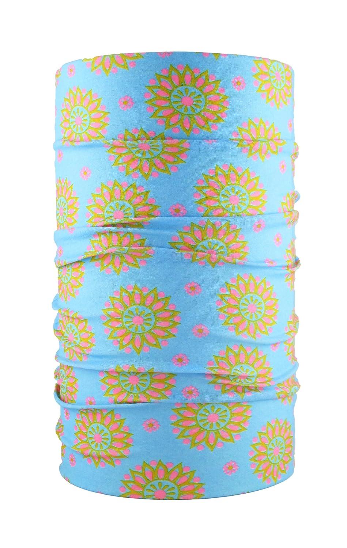 HeadLOOP Multifunktionstuch blau Blume Loop Schlauchtuch Schal Halstuch Kopftuch Microfaser