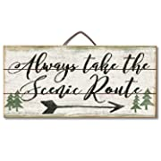 Highland Graphics Lodge Decor Wood Sign Reads  Always Take the Scenic Route  for Counter or Wall Decor,Beige