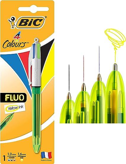 BIC 4 colores Fluo bolígrafos Retráctiles - Tinta Negra, Azul, Rojo y Amarillo Fluorescente, Blíster de 1 Unidad: Amazon.es: Oficina y papelería