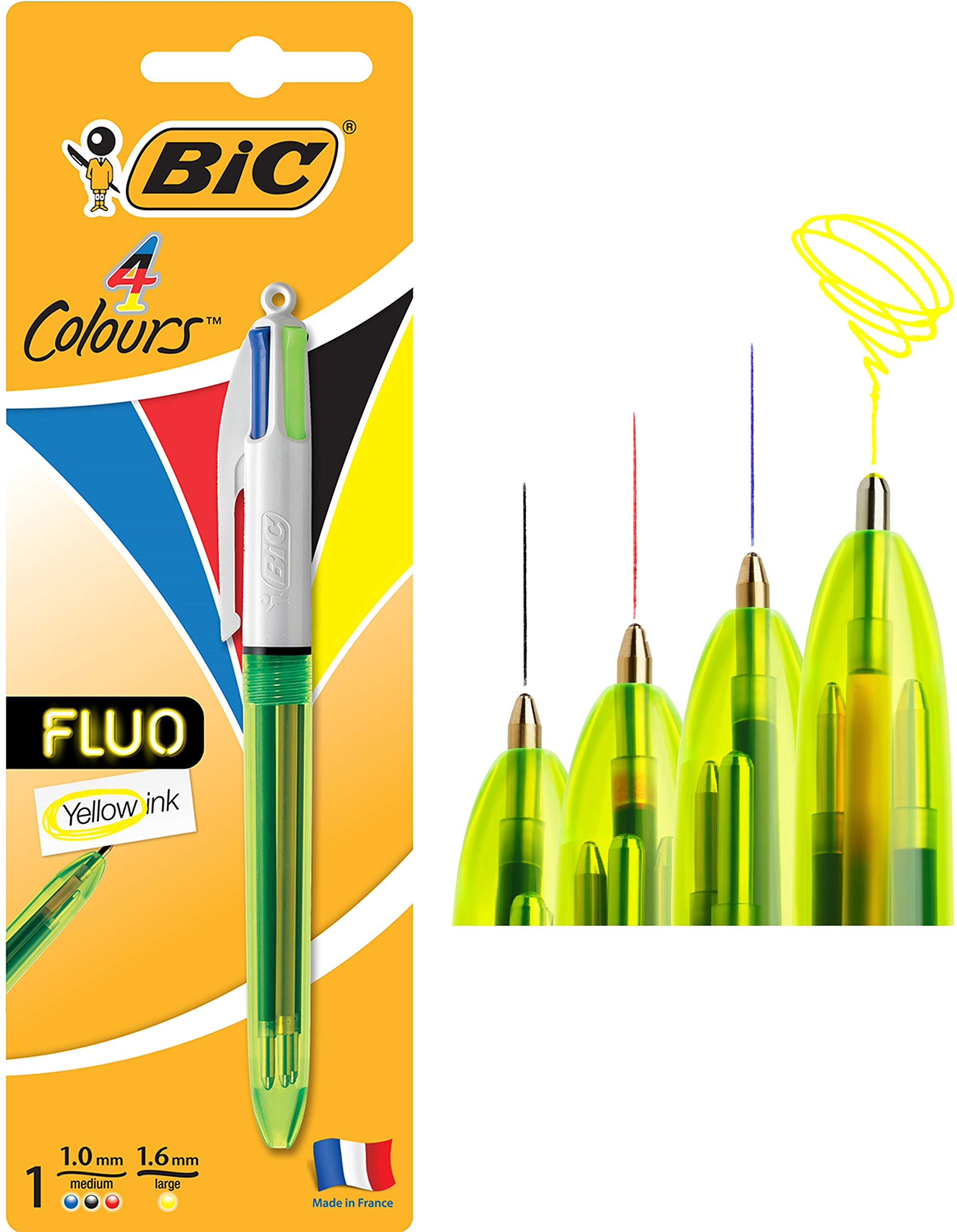 BIC 4 Colours Fluo Ballpoint Pen Black, Blue, Red and Fluorescent Yellow Ink Colours 1 Pack