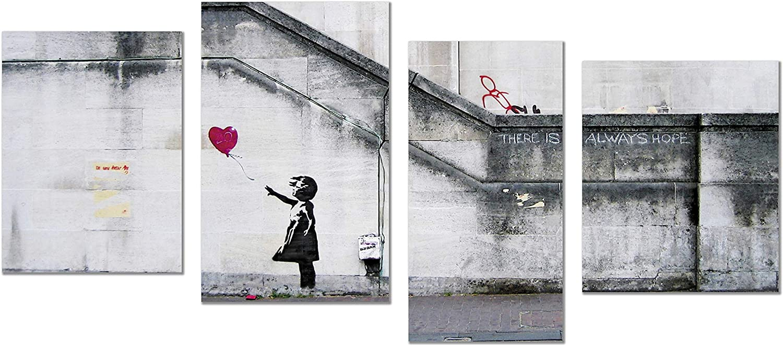 Banksy Pared Arte Abstracto Gris Blanco Rojo chica globo lienzo imagen dividida