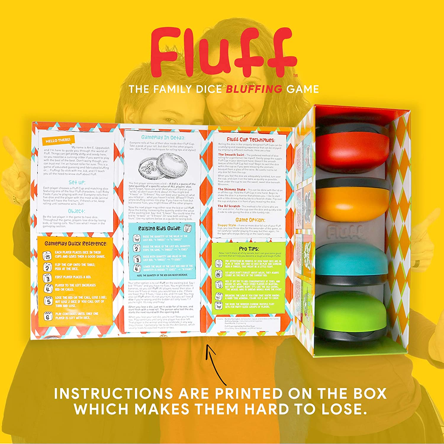 Bananagrams FLUFF Liar's Dice for Cunning Critters Family Rolling Dice Game