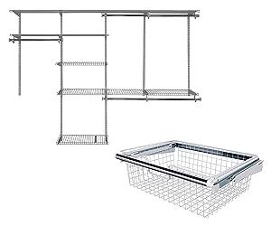 La Rosticceria Rubbermaid Configurations Closet Organizer Kits, 4 Feet to 8 Feet, Titanium Bundle with Configurations Closet System Sliding Metal Storage Basket, White