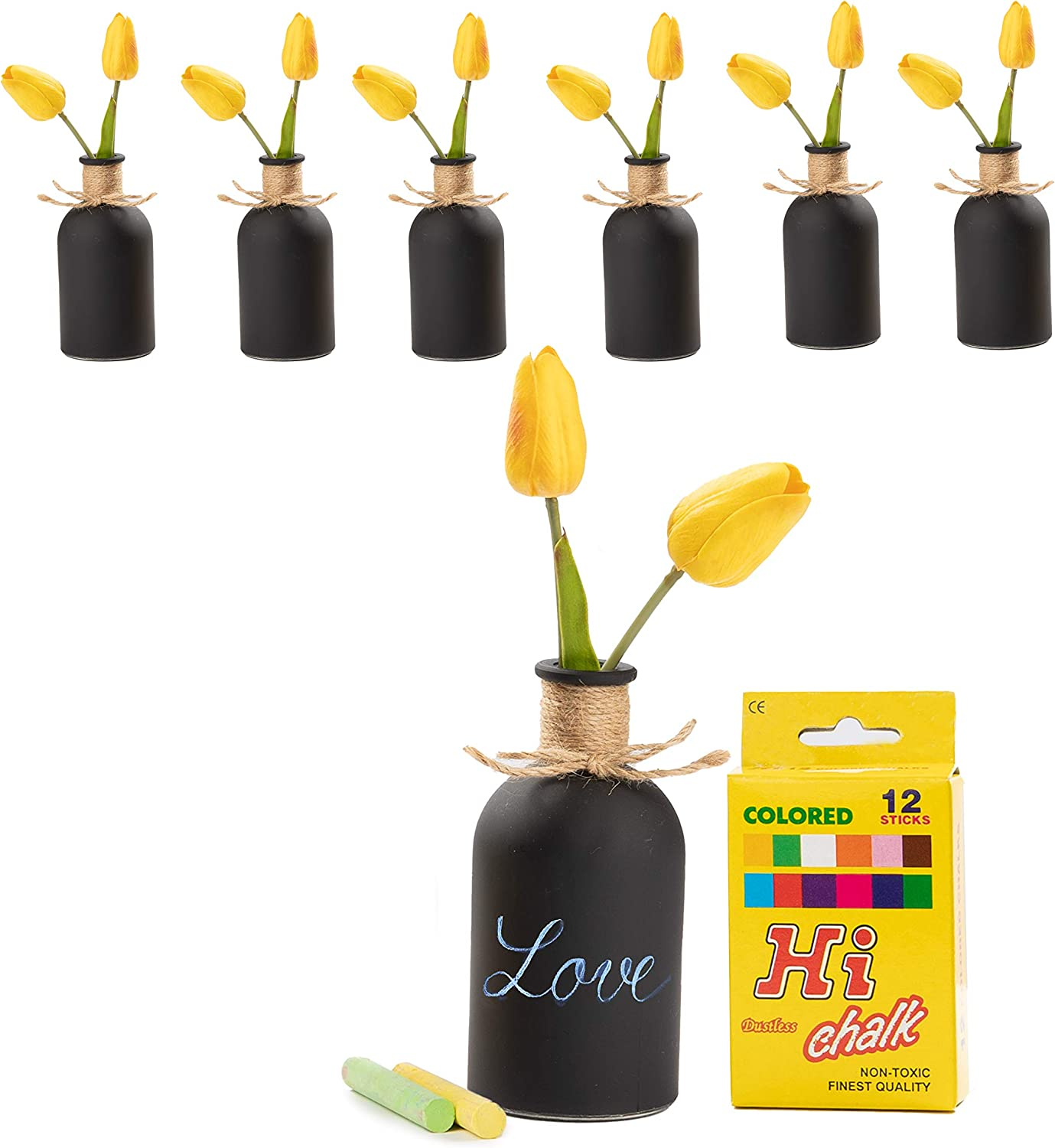 Upper Midland Products 6 Small Black Vases for Decor, Chalkboard Vase Flower Centerpieces and Chalk