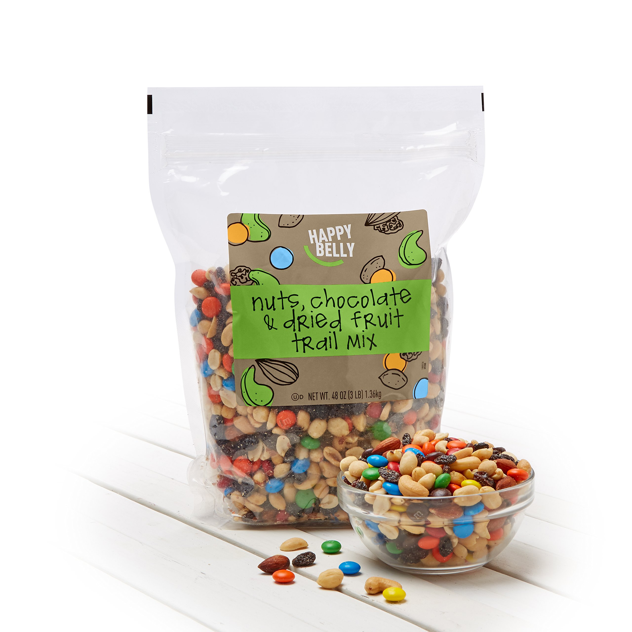 Amazon Brand - Happy Belly Amazon Brand Nuts, Chocolate & Dried Fruit Trail Mix, 48 ounce by Happy Belly (Image #2)