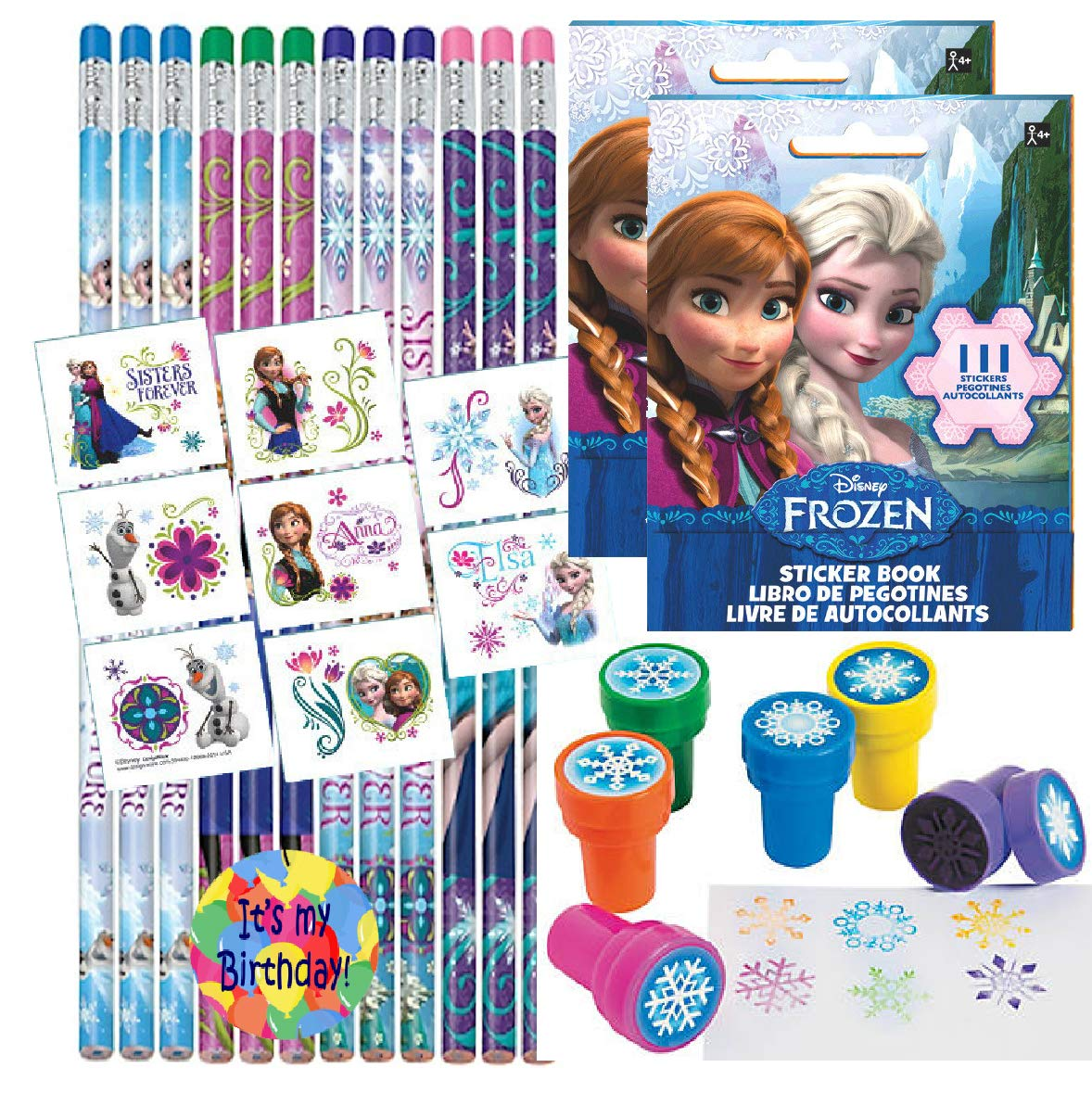 Birthday Party Favor Set for 12 - 12 Frozen Pencils, 16 Frozen Tattoos, 12 Sticker Sheets, 12 Snowflake Stampers by Unknown