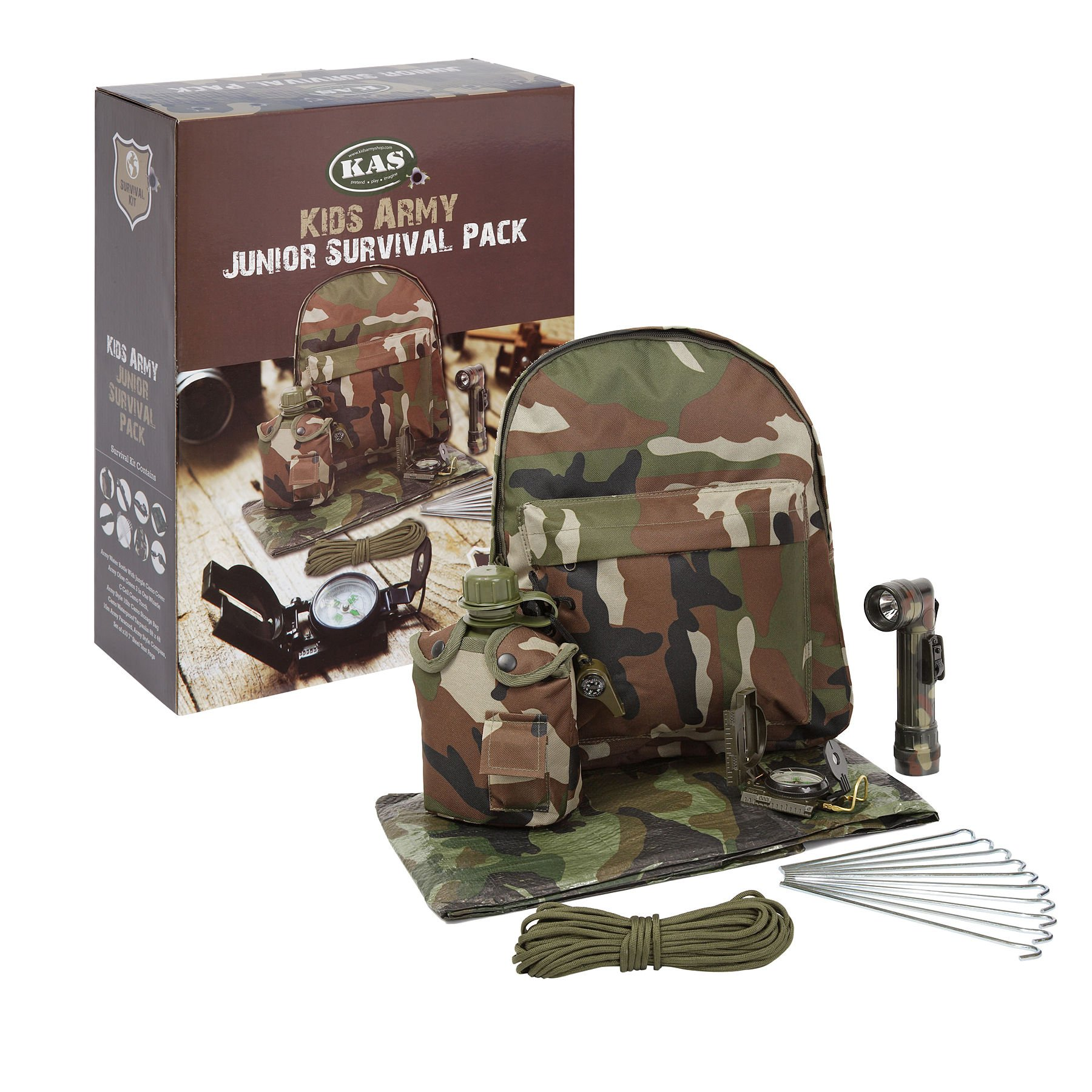 KAS Kids Army Camouflage Junior Survival Pack - Kids Army Roleplay by KAS