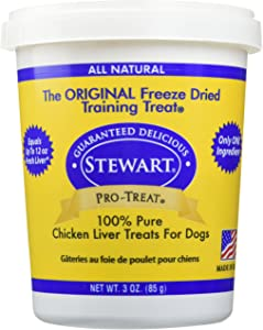 Stewart Freeze Dried Chicken Liver Dog Treats, Grain Free, All Natural, Made in USA by Pro-Treat, 3 oz, Resealable Tub