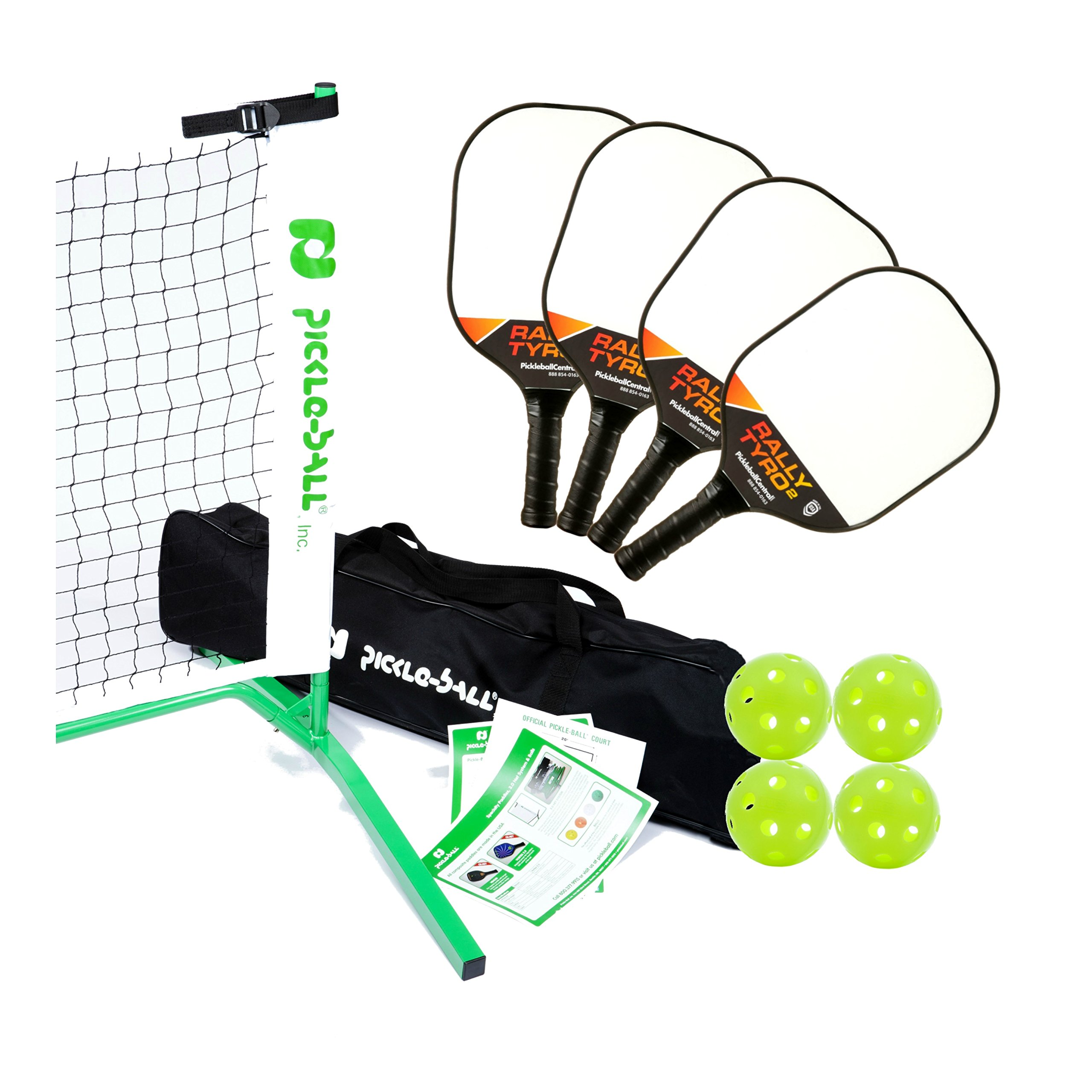 Rally Tyro 2 Pickleball Paddle, Portable Net and Ball Set (Includes Metal Frame + Net + 4 composite paddles + 4 balls + Rules Sheet in Carry Bag) by PickleballCentral