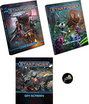 Starfinder Bundle of Core Rulebook, Alien Archive, GM Screen and a Cool Star Fighter Button
