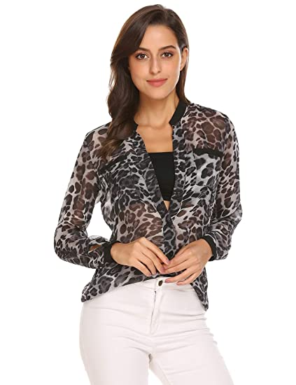 7753e05abff EASTHER Women's V Neck Long Sleeve Button Down Casual Shirt Leopard Prints  Blouse Tops