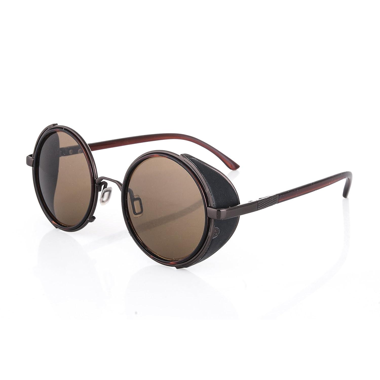 sold® Gafas redondas de sol estilo steam punk fangbanger vintage años negro