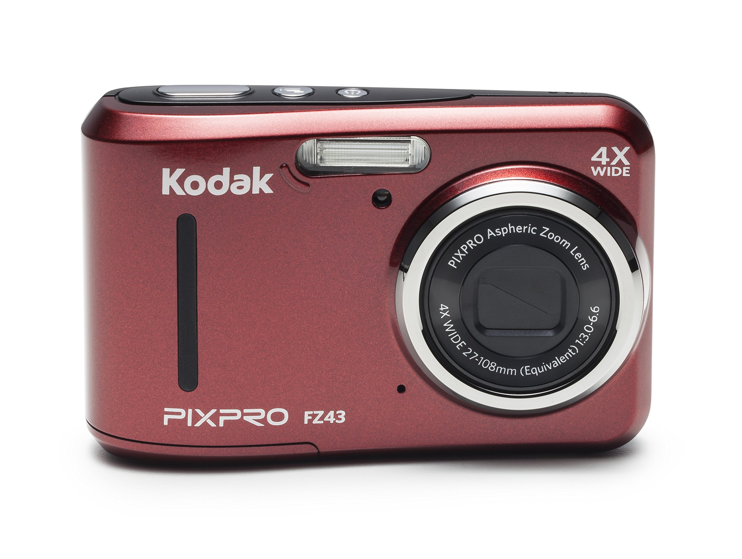 Kodak PIXPRO Friendly Zoom FZ43-RD 16MP Digital Camera with 4X Optical Zoom and 2.7'' LCD Screen (Red)