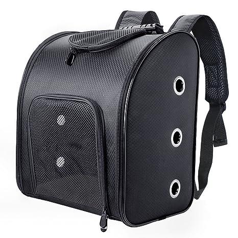 Fypo Mochila para Mascotas Transportín Perros y Gatos de Peso hasta 6kg Bolso Transporte Mascota Negro