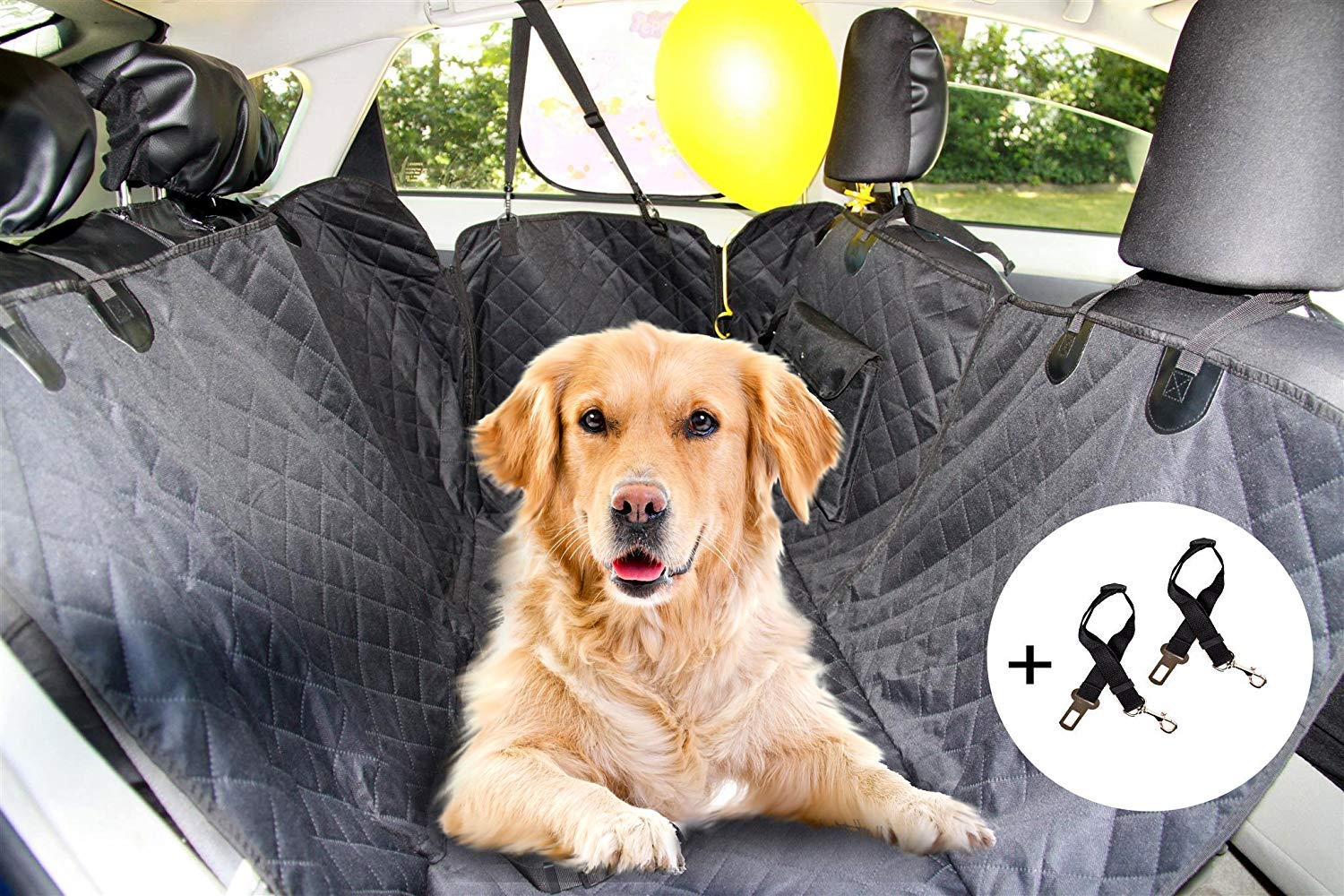 SALE W146 x L137 cm Car Dog Seats Heavy-Duty Cover with 2 seat belts Completely Waterproof Mascoto Dog Car Hammock with a Storage Pockets