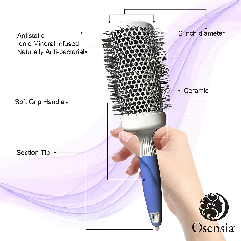 Cepillo redondo PRO para secador - Cepillo de pelo redondo mediando - Cepillo  cerámico ionico - 48455eb7ef99