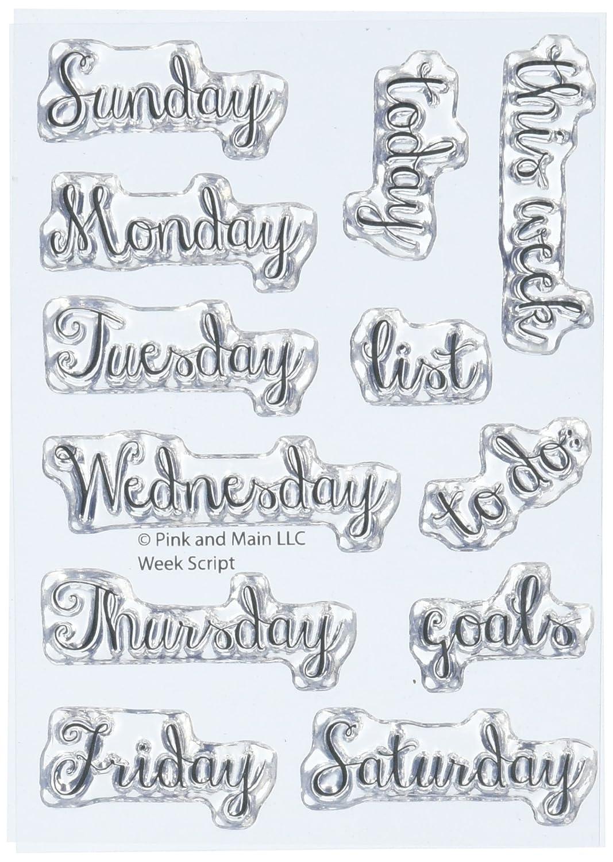 Rosa & principale settimana Script timbri trasparenti, in acrilico,, 3 x 4, 2 pezzi 3x 4 2pezzi Pink & Main PM0139