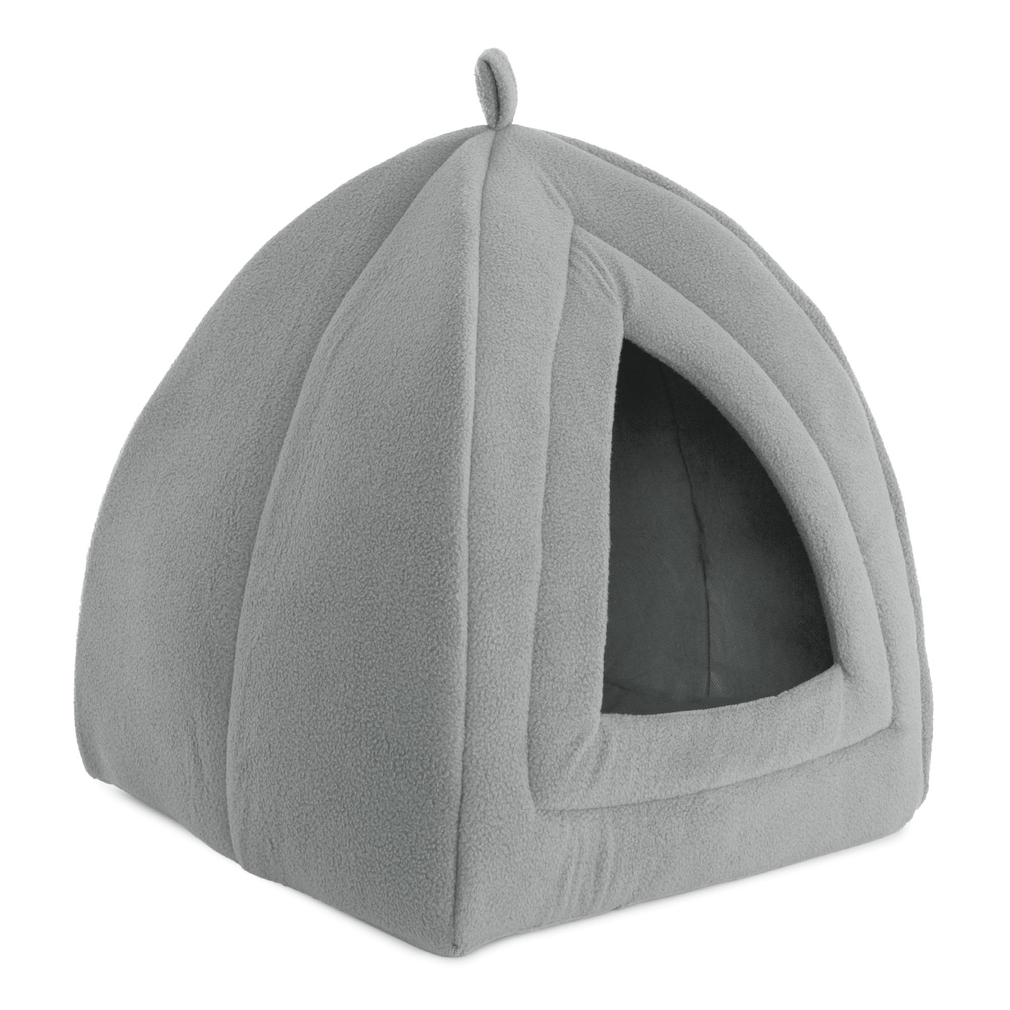 PETMAKER Cat Pet Bed, Igloo- Soft Indoor Enclosed Covered Tent/House for Cats, Kittens, and Small Pets with Removable Cushion Pad by (Grey)