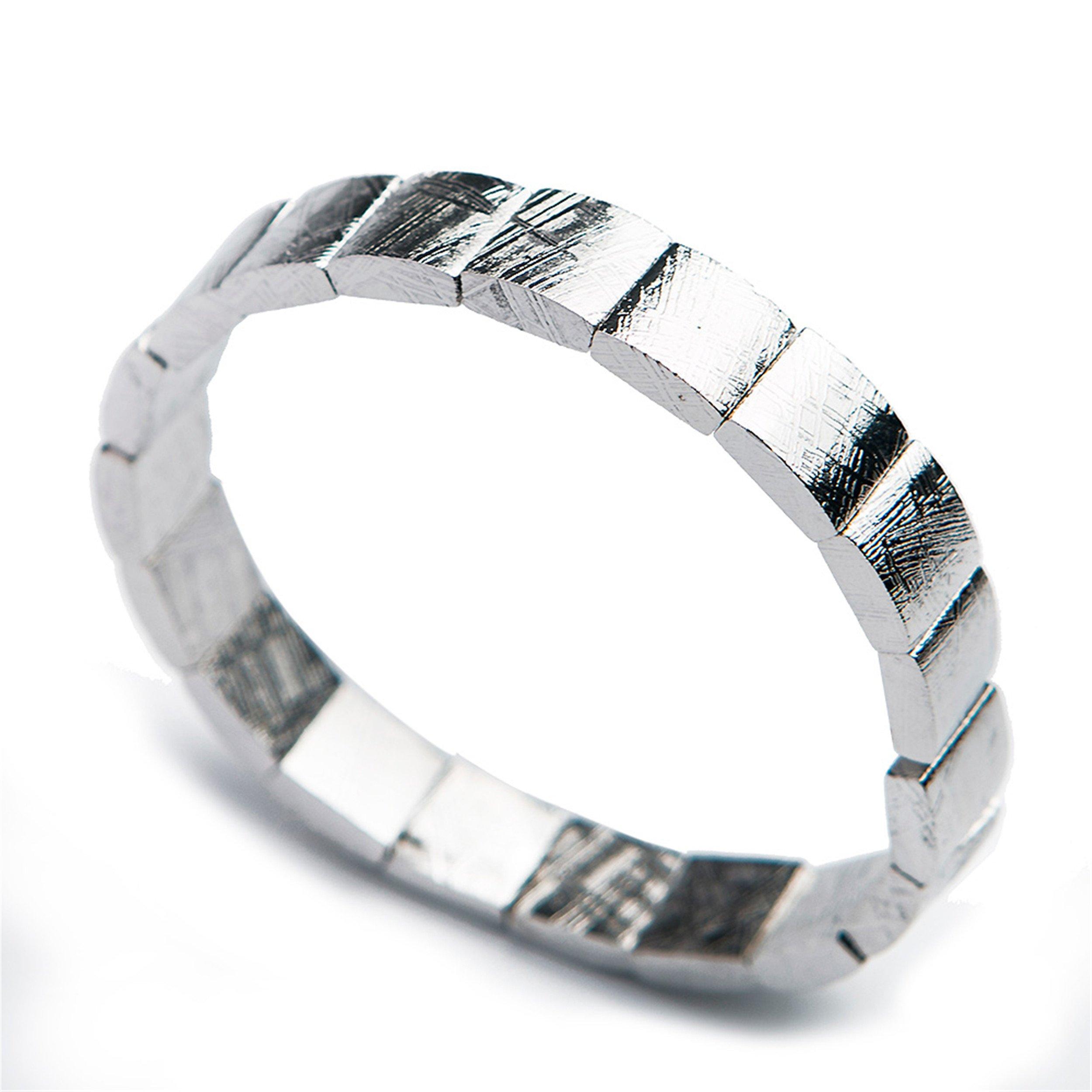 LiZiFang Natural Gibeon Iron Meteorite Rectangle Bead Stretch Bangles Bracelets