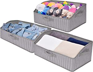 GRANNY SAYS Storage Bins, Closet Shelf Organizer Bin, Trapezoid Storage Bin Box for Shelves, Gray/White, 3-Pack