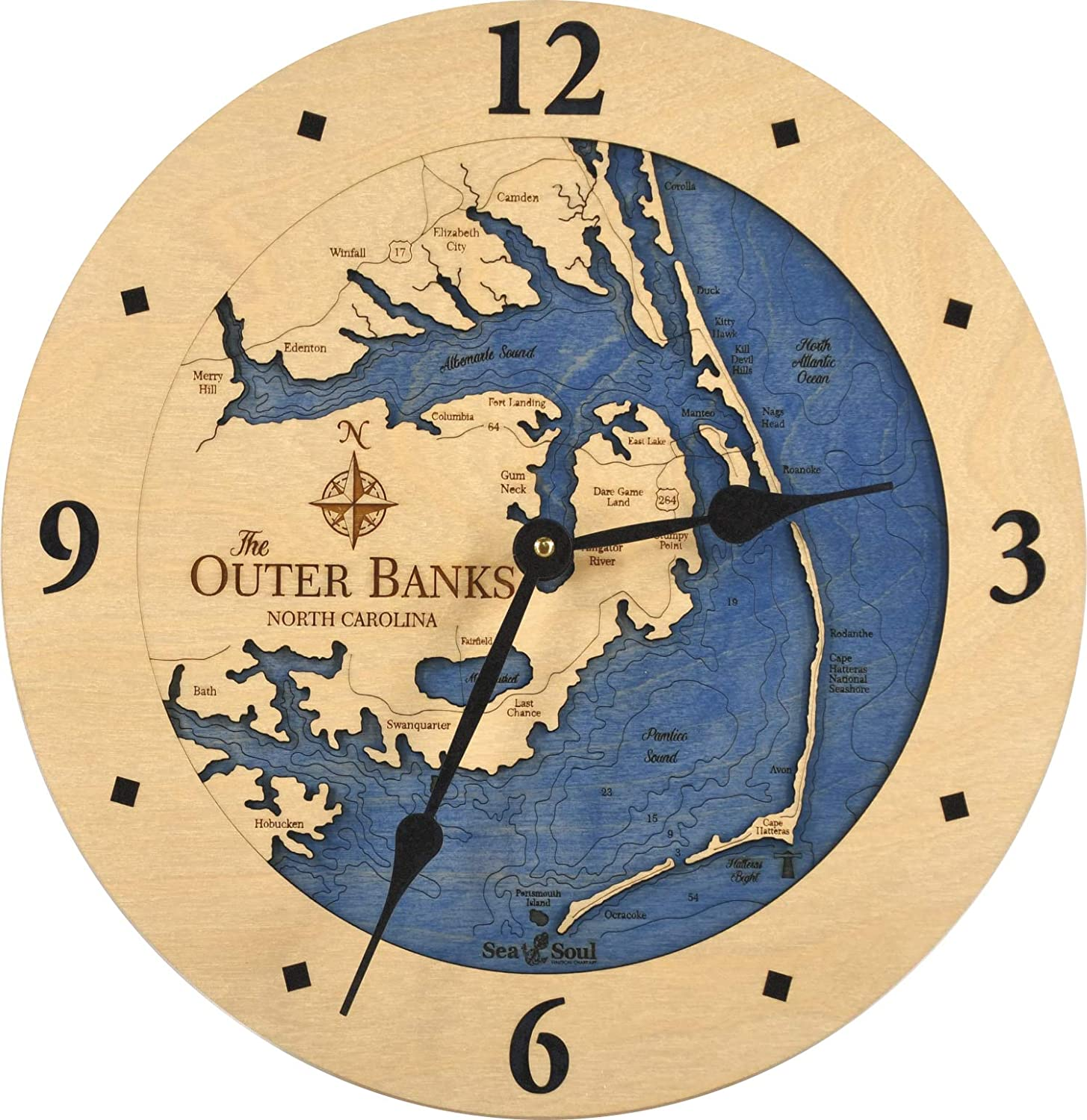 """Sea & Soul Outer Banks 3-D Nautical Wood Chart 12"""" Wall Clock, Handcrafted in The USA, Topographic Water Map Clock, Carved Lake Art Wall Clock, Coastal Décor (Deep Blue)"""