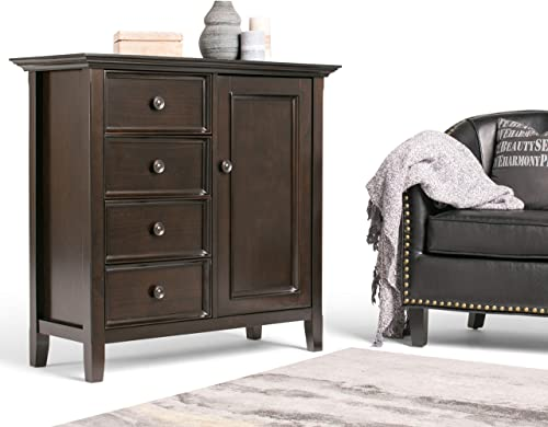 Simpli Home Amherst SOLID WOOD 37 inch Wide Transitional Medium Storage Cabinet in Hickory Brown, with 4 Functional Drawers, 1 Door, 2 Adjustable Shelves